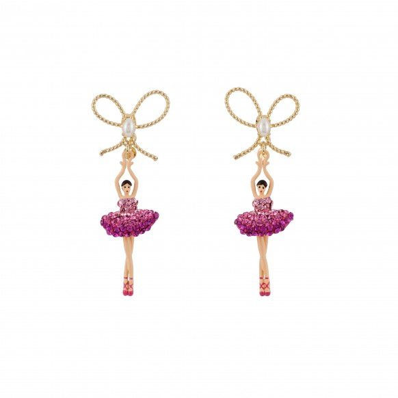 ballerina-paved-with-raspberry-crystals-asymetrical-earrings