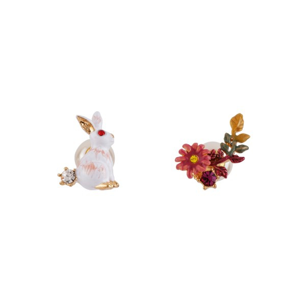 rabbit-and-flowered-branch-asymmetrical-earrings