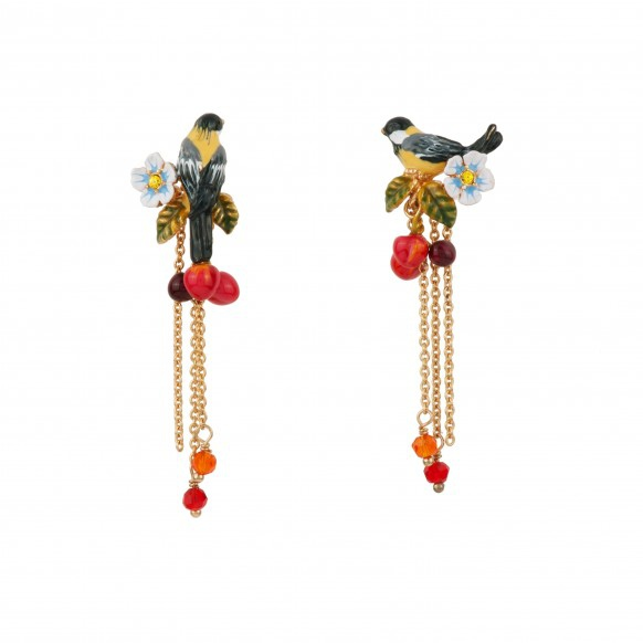 bird-on-a-branch-of-cherry-tree-and-chains-earrings