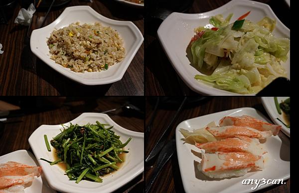 炒飯 蝦醬空心菜 辣炒高麗菜 松葉蟹握壽司