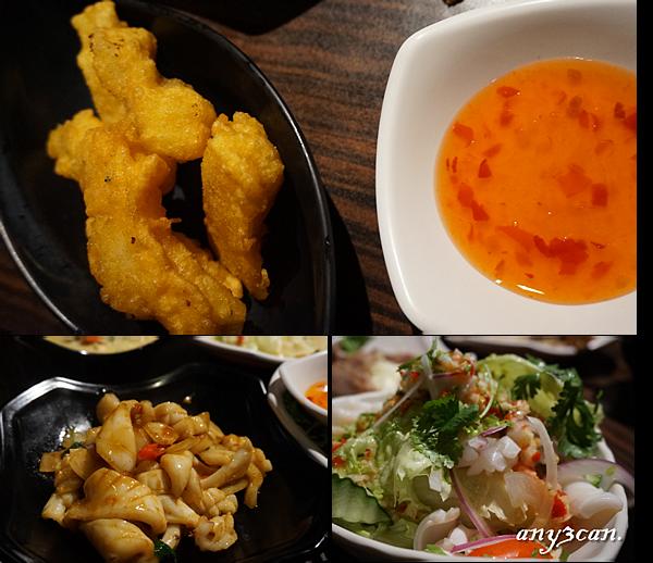 炸魚柳條 辣拌海鮮生菜沙律 泰式辣炒鮮魷