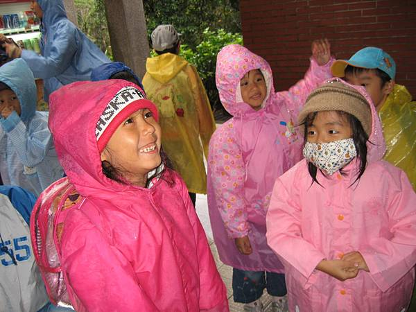 穿著雨衣上陽明山上自然課