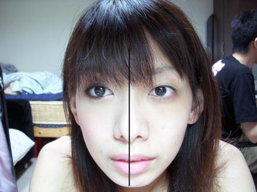 沒化妝的半邊臉