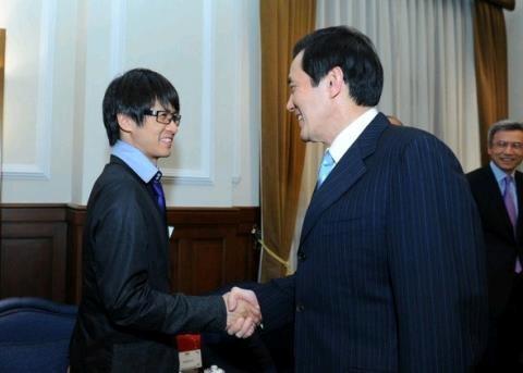 韓寒首度來台訪問,並會見總統馬英九