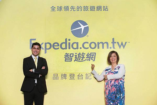 Expedia在地化大膽跨步,記者會上揭示中文命名「智遊網」(左-Expedia亞洲區首席執行長陳凱霖、右-Expedia亞洲區總經理Vikram Malhi).jpg