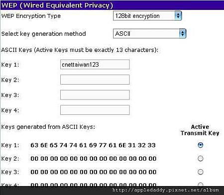 選擇128bit加密,然後用ASCII方式來輸入金鑰