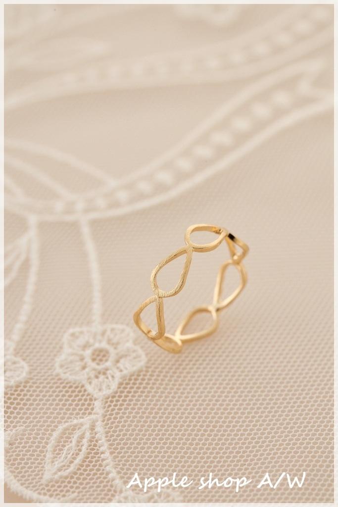 H001  金色水滴簍空設計感戒指 1