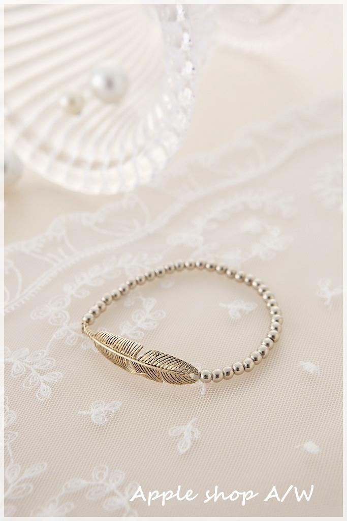 J012  洗舊感羽毛串珠手鍊 1