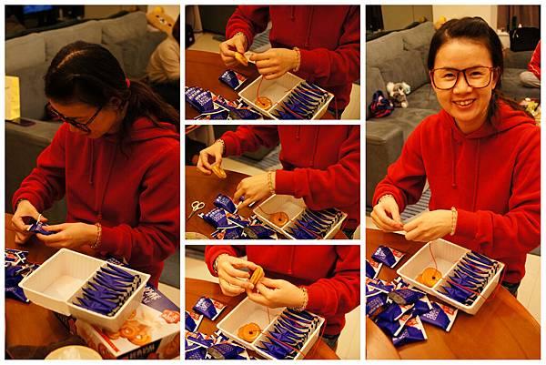 在大伯家DIY收涎餅,本來要串24個餅乾的,可是少2個,只能選擇串12個