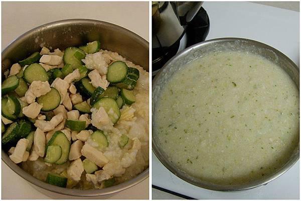 白蘿蔔玉米筍粥+小黃瓜炒雞肉