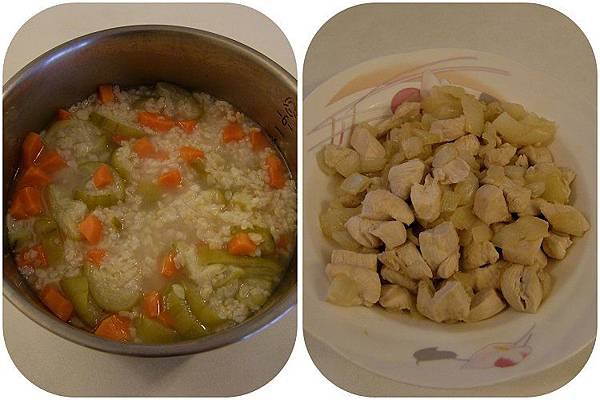 2014-06-18。。【8m24d】紅蘿蔔絲瓜粥+洋蔥雞肉