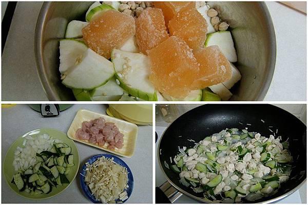 絲瓜雪蓮子粥+綜合蔬菜炒雞肉