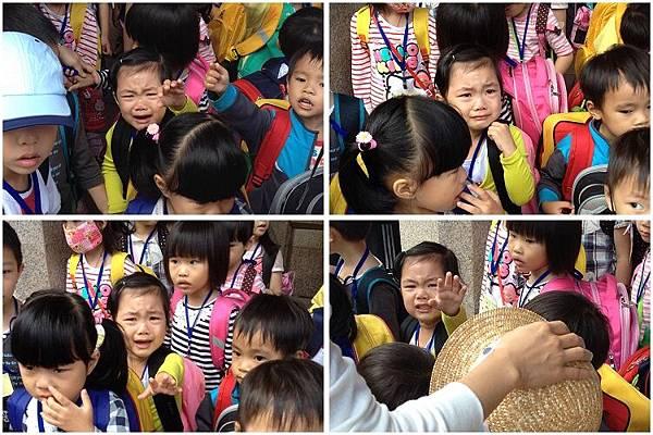 2014-10-31幼兒園校外教學。在人群中哭泣,看的媽咪都想哭了。