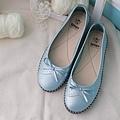 ☆Applenana☆氣質女孩。兩種蝴蝶飛飛的氣墊平底鞋.顯白亮藍.限量[T190699]