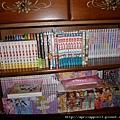 書櫃的上層是漫畫,下層是DVD和VCD