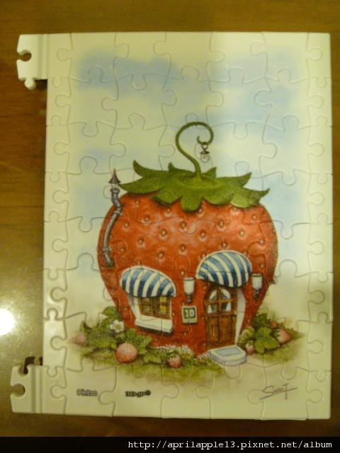 拼完草莓屋的邊框