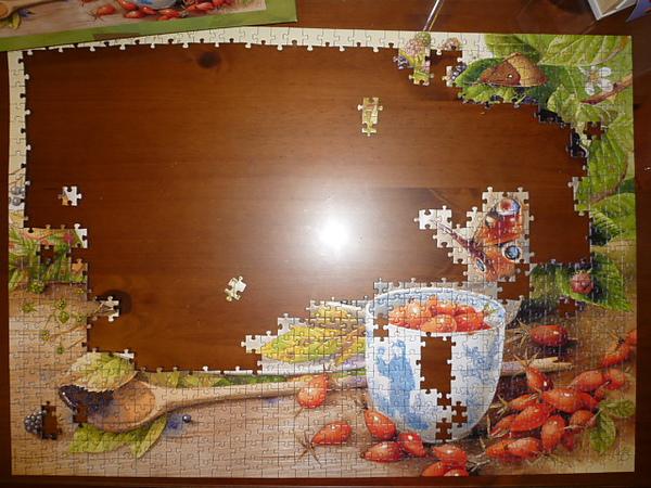 再來是樹葉和左下角的木桌部份