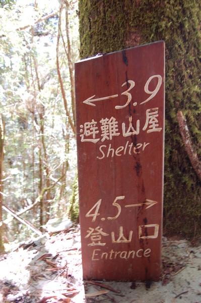 往(嘉明湖)避難山屋的指標