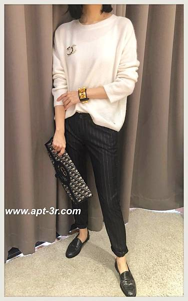 REIKO Jeans Chino 條紋老爺褲(Black Silver)2.jpg