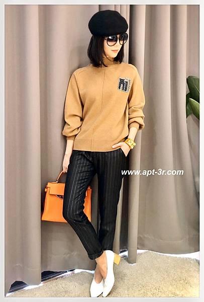 REIKO Jeans Chino 條紋老爺褲(Black Silver).jpg