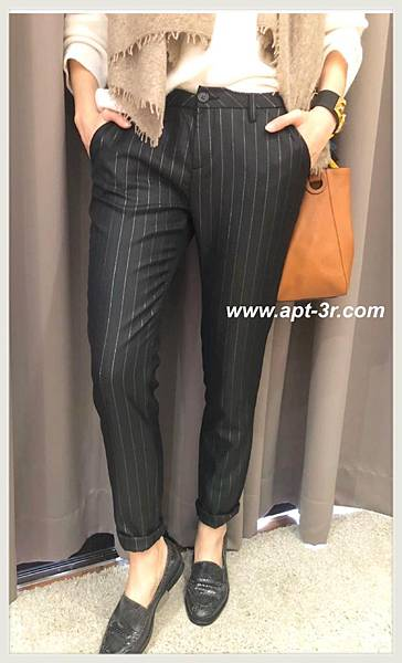 REIKO Jeans Chino 條紋老爺褲(Black Silver)3.jpg