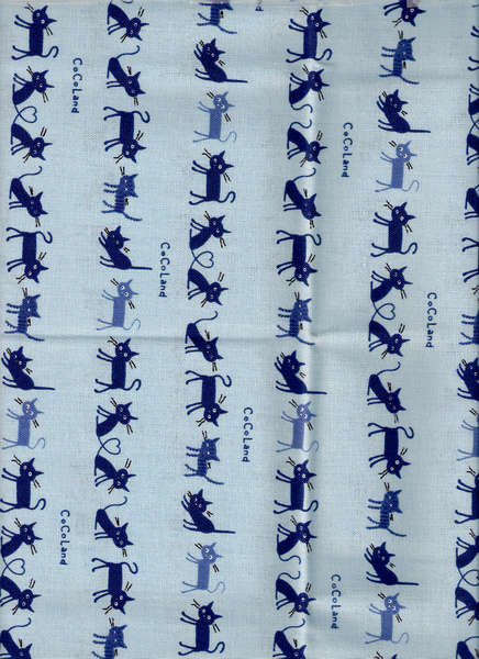 藍色貓咪印花布