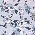 淺藍植物金線印花布