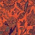 橘色民族風花紋燙金印花布
