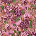 紫紅色花團錦簇印花布
