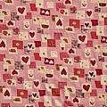 粉紅鄉村風格心型印花布