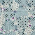淺藍水玉蕾絲印花布