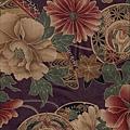 深紫大菊花印花布