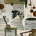 復古風格鑰匙錢幣印花布