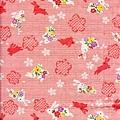 和風粉紅梅花小兔印花布