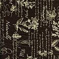 咖啡色植物圖鑑印花布