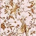 粉紅花鳥印花布