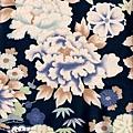 深藍大牡丹印花布