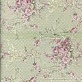 淺綠法式鄉村玫瑰印花棉布