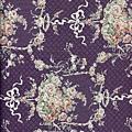 深紫法式鄉村玫瑰印花棉布