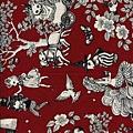 鮮紅童話風格印花棉布