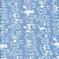 藍色貓咪排隊印花細棉布