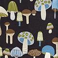 黑色蘑菇印花棉布