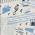 深藍鋼琴音符印花布
