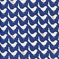 藍底北歐風小鳥印花布