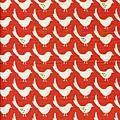 橘紅北歐風小鳥印花布