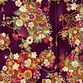 紫色和風百花扇印花棉布