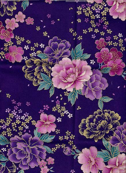 深紫描金牡丹仿古布