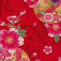 大紅色大櫻花印花棉布
