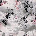 水墨櫻花富士山印花棉布