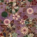 和風紫色燙金印花布